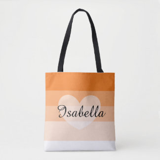 Orange Layers Personalized Name Tote Bag