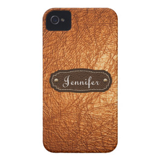 Orange Leather Look personalized iPhone 4/4s iPhone 4 Case-Mate Case