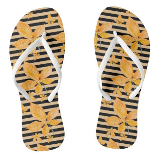 Orange Leaves on Black and Gold Stripes Flip Flops