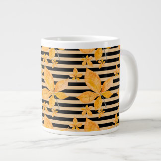 Orange Leaves on Black and Gold Stripes Giant Coffee Mug