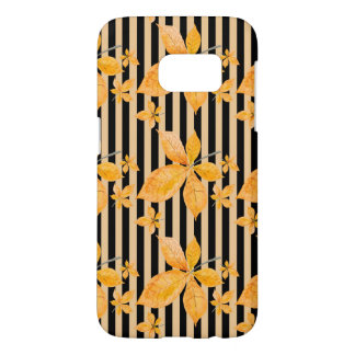 Orange Leaves on Black and Gold Stripes Samsung Galaxy S7 Case