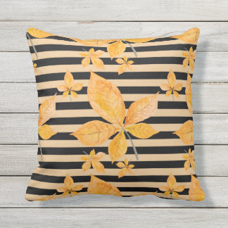 Orange Leaves on Black and Gold Stripes Throw Pillow