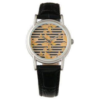 Orange Leaves on Black and Gold Stripes Wristwatches