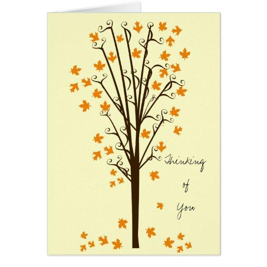 Orange Leaves Tree Card