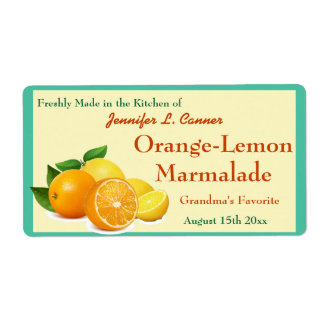 Orange Lemon Marmalade Preserves Canning Jar Shipping Label