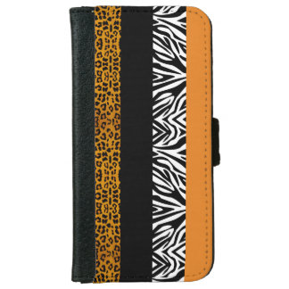 Orange Leopard and Zebra Custom Animal Print iPhone 6 Wallet Case