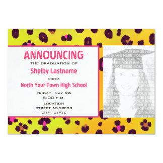 Orange Leopard Print Graduation Photo Announcement
