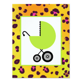 "Orange Leopard Print & Green Carriage Baby Shower 4.25"" X 5.5"" Invitation Card"