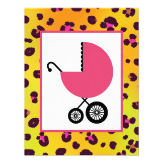 Orange Leopard Print & Pink Baby Shower Personalized Invitations