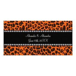 Orange leopard print wedding favors customized photo card