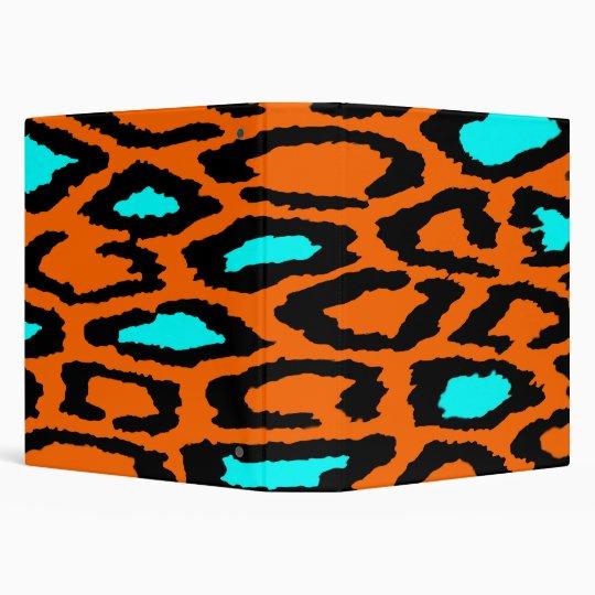 Orange Leopard Print with Teal Highlights Binder