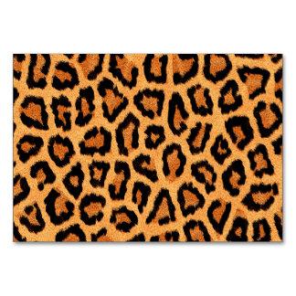 Orange leopard skin print table cards