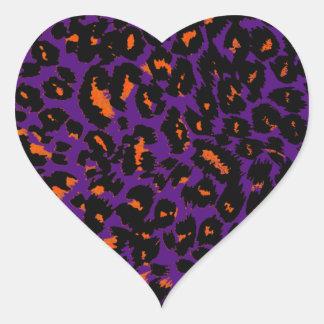 Orange Leopard Spots on Purple Heart Sticker