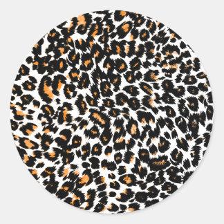 Orange Leopard Spots Pattern Round Sticker