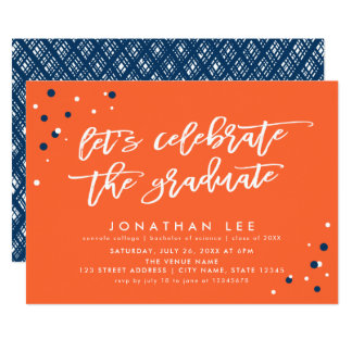Orange Let's Celebrate the Graduate Grad Party Card