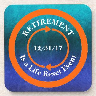 Orange Life Reset Icon Retirement Date Coaster