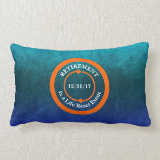 Orange Life Reset Icon Retirement Date Lumbar Pillow