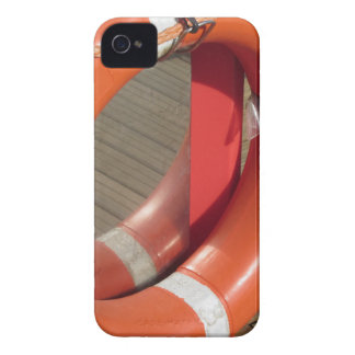 Orange lifebuoy on wooden pier in the harbor iPhone 4 Case-Mate case