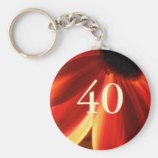 Orange Lights Flower 40th Birthday Gift Keychain