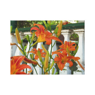 Orange Lilies by Cottage Porch, Martha's Vineyard Canvas Print