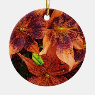 Orange Lilies Ceramic Ornament