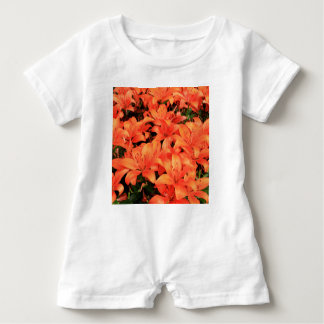 Orange liliums in bloom baby romper