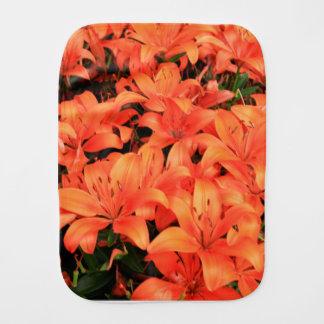 Orange liliums in bloom burp cloth