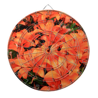 Orange liliums in bloom dartboard