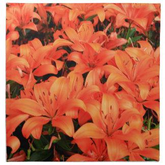 Orange liliums in bloom napkin