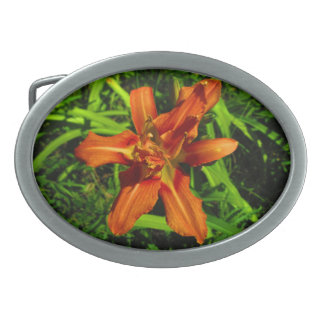 Orange Lilly Oval Belt Buckle