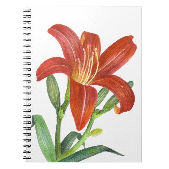 Orange Lily Botanical Illustration Notebook