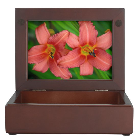 Orange lily flowers keepsake box