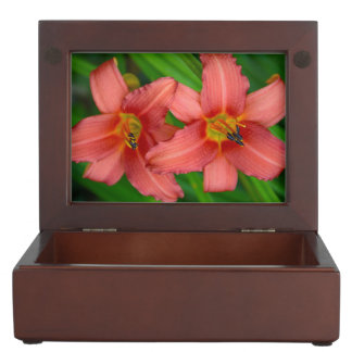 Orange lily flowers keepsake boxes