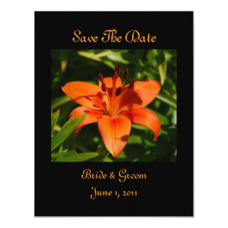 "Orange Lily Save The Date Cards 4.25"" X 5.5"" Invitation Card"