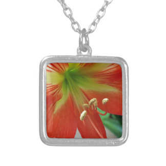 orange lily silver plated necklace