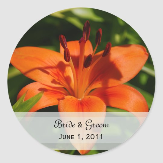Orange Lily Wedding Stickers