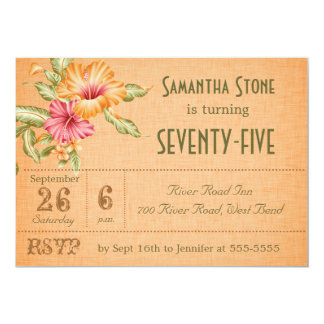 "Orange Linen Floral Customized Birthday Invitation 5"" X 7"" Invitation Card"