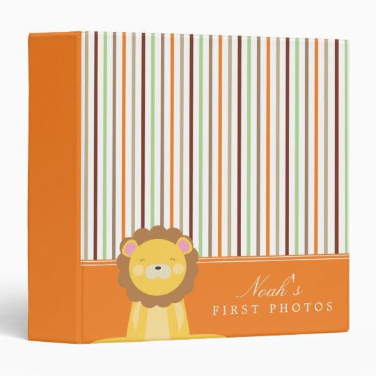 Orange | Lion And Stripes 3 Ring Binders