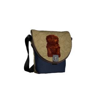 Orange Lion Dog Pixel Art Messenger Bags