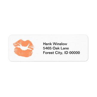 Orange Lipstick Kiss Return Address Label