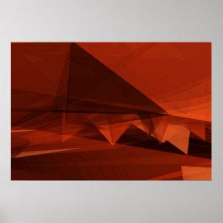 Orange Low Poly Background Design Artistic Pattern Poster