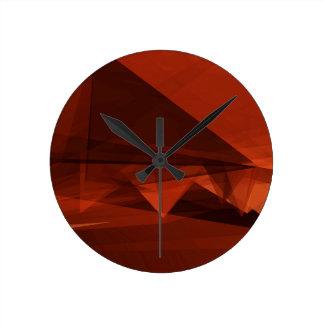 Orange Low Poly Background Design Artistic Pattern Round Clock