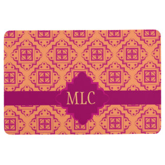 Orange Magenta Arabesque Moroccan Pattern Monogram Floor Mat