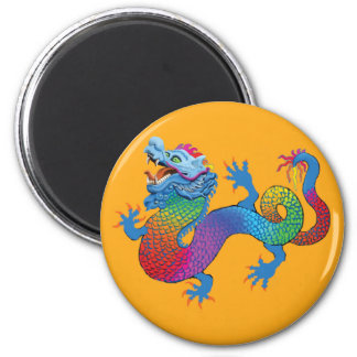 Orange Magnet with Colorful Dragon