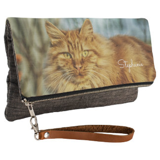Orange Maine Coon Cat or use own cute pet photo Clutch