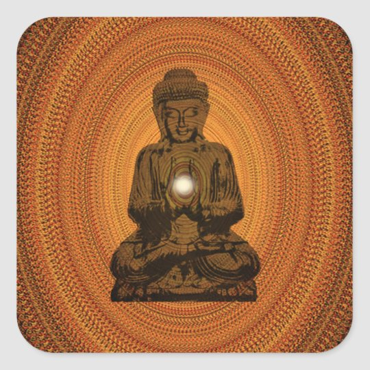 orange mandala for Buddha Square Sticker