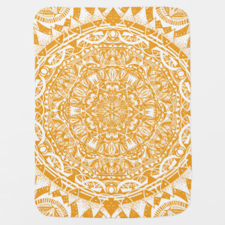 Orange mandala pattern baby blanket