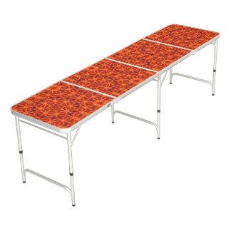 Orange Mandala Pattern Beer Pong Table