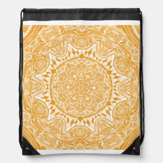 Orange mandala pattern drawstring bag