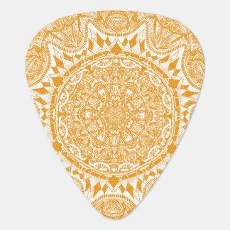 Orange mandala pattern guitar pick